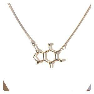 Caffeine molecule necklace and earring set
